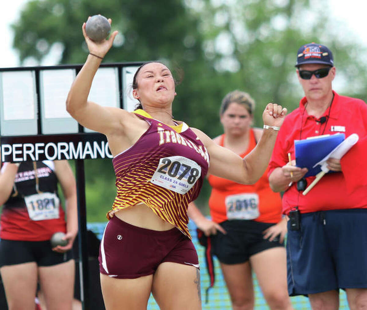 EA-WR senior Jayden Ulrich gets off her winning throw of 14.84 meters in her first attempt in the shot put at the Class 2A state meet Friday at O'Brien Stadium in Charleston. Ulrich won state championships in both the shot and discus.