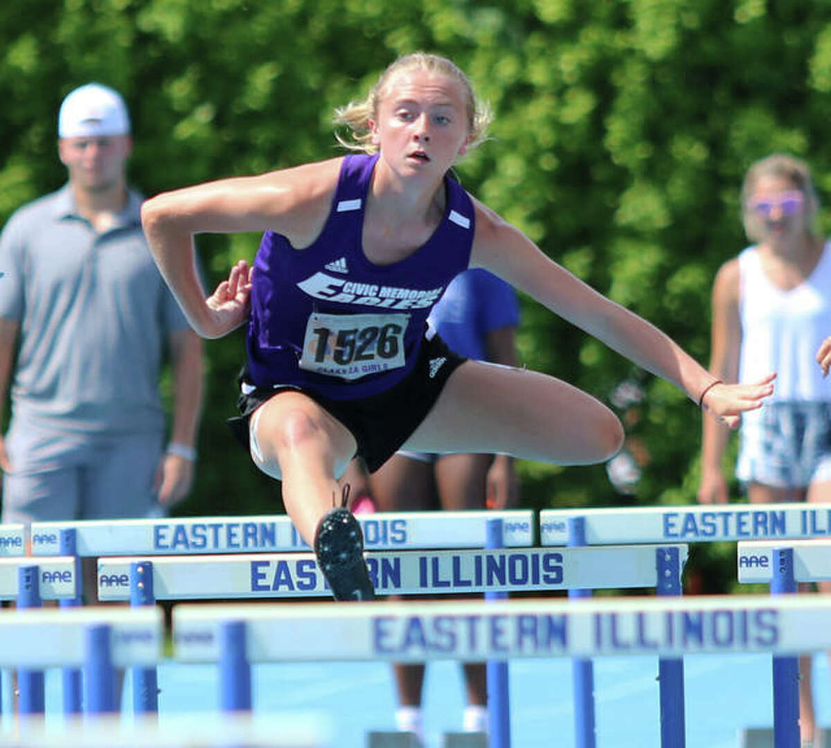 CM's Bella Dugger clears a hurdle early in her 100-meters hurdles heat on Friday at the Class 2A state meet at Charleston.