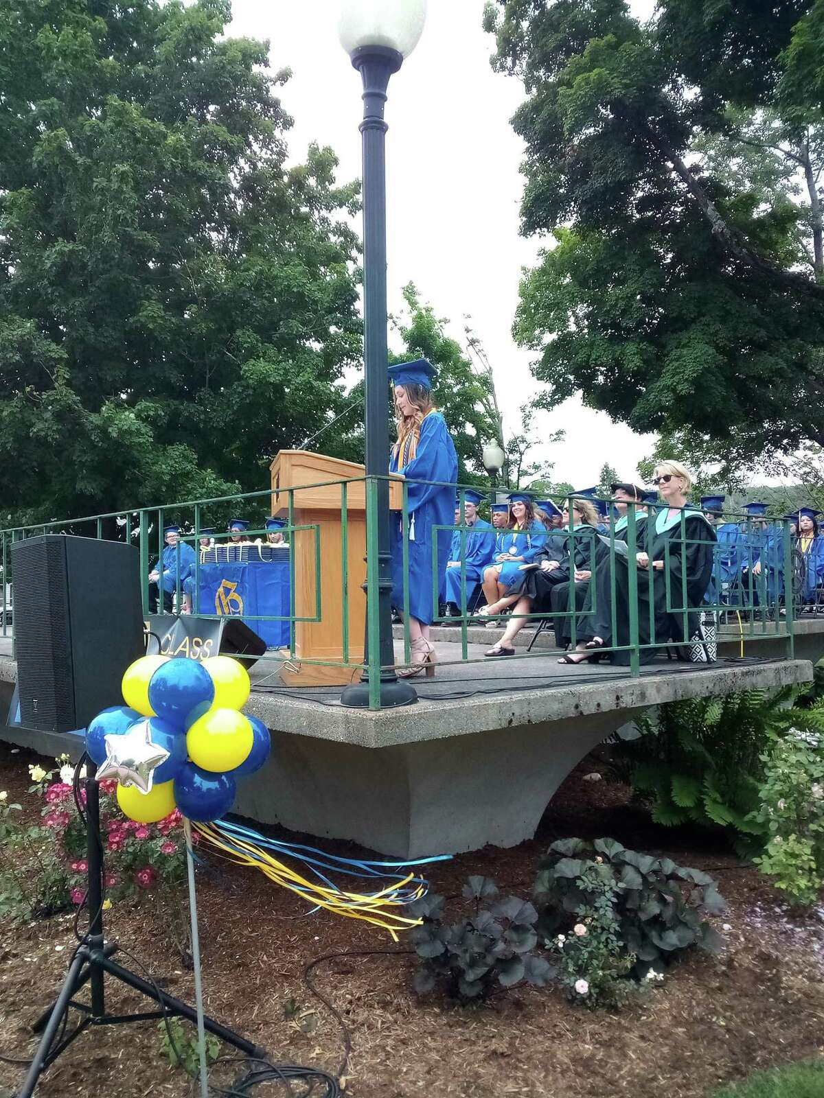 The Gilbert School held its commencement exercises for the class of 2021 June 11 at East End Park in Winsted. Salutatorian Miranda Brennan gives her speech.