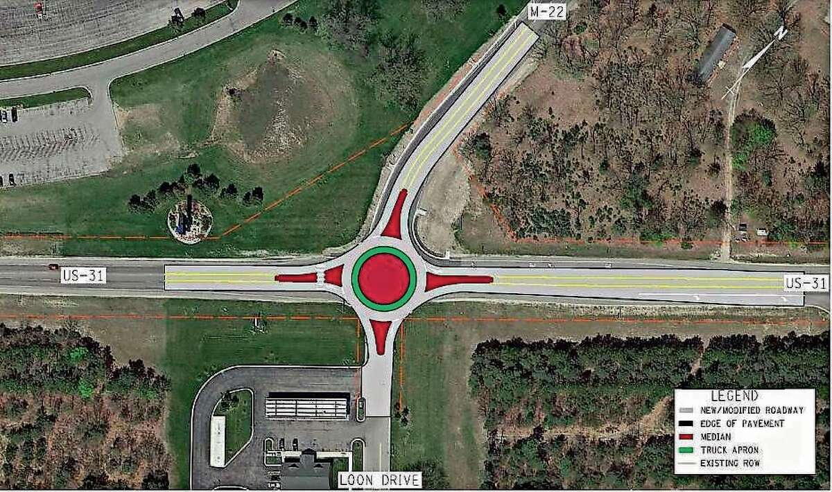 A roundabout was one option considered for the intersection of M-22 and U.S. 31.