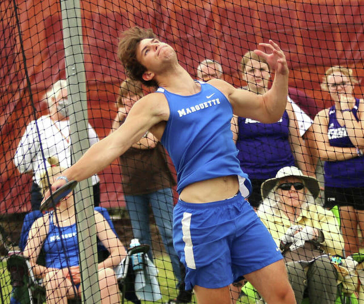 Marquette Catholic senior Jake Hewitt competes in the discus during the Madison County Meet on May 17 in Wood River. On Friday night, Hewitt posted a PR to win the Gillespie Class 1A Sectional and advances to Thursday's state meet in Charleston as the No. 1 seed in the discus.