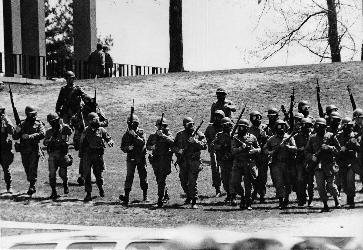 A photograph taken by Michael Stein on May 4, 1970, on the campus of Kent State University, the day four students were shot and killed by members of the Ohio National Guard. Stein, who went on to become an art professor at Housatonic Community College, in Bridgeport, was a student at Kent State.