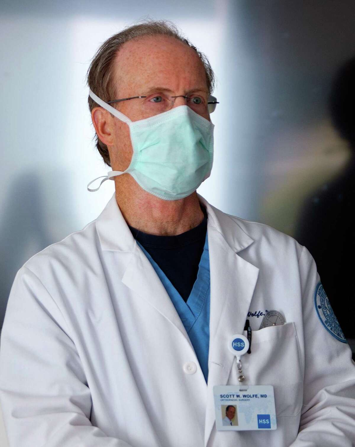Dr. Scott Wolfe, who performed a total wrist replacement, the first of its kind in the world, talks about the surgery at the Hospital for Special Surgery in Stamford, Conn., on Thursday June 10, 2021.