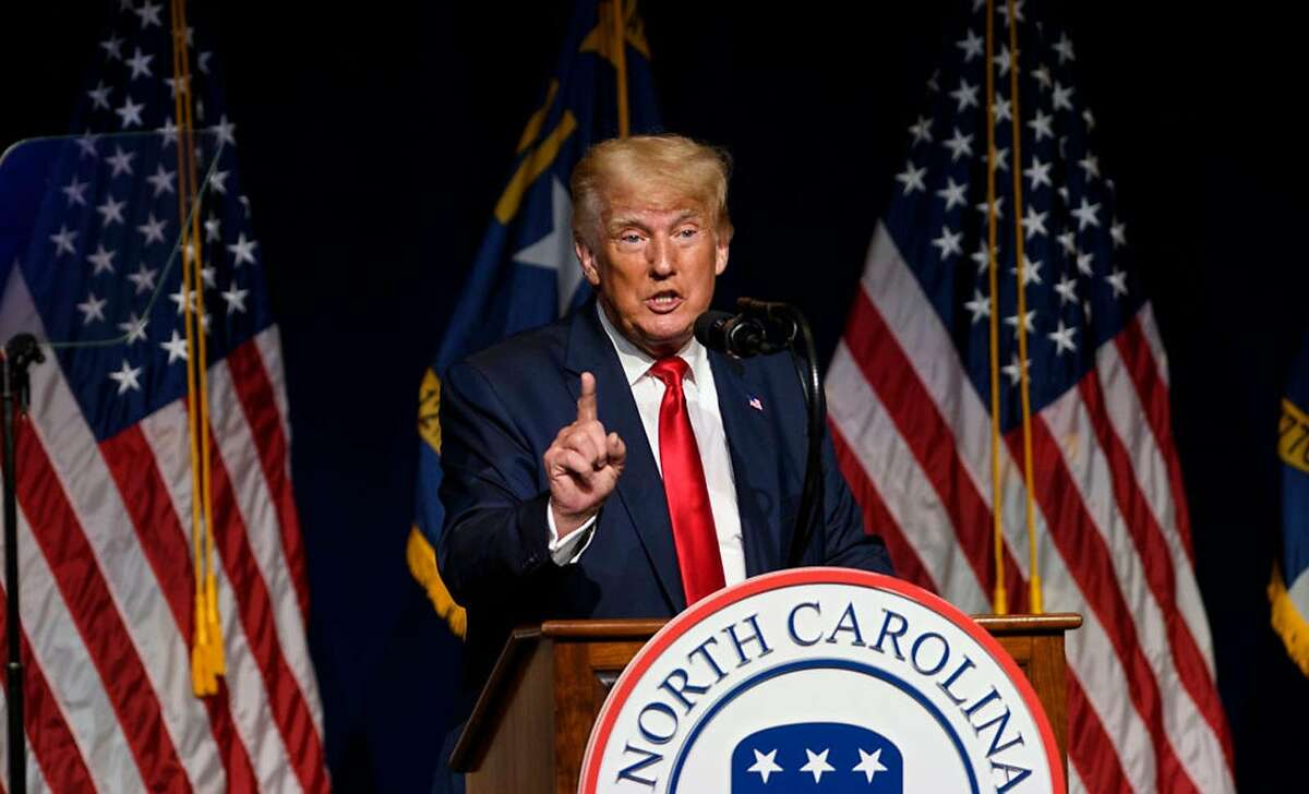 Former U.S. President Donald Trump addresses the NCGOP state convention on June 5, 2021 in Greenville, North Carolina. (Melissa Sue Gerrits/Getty Images/TNS)