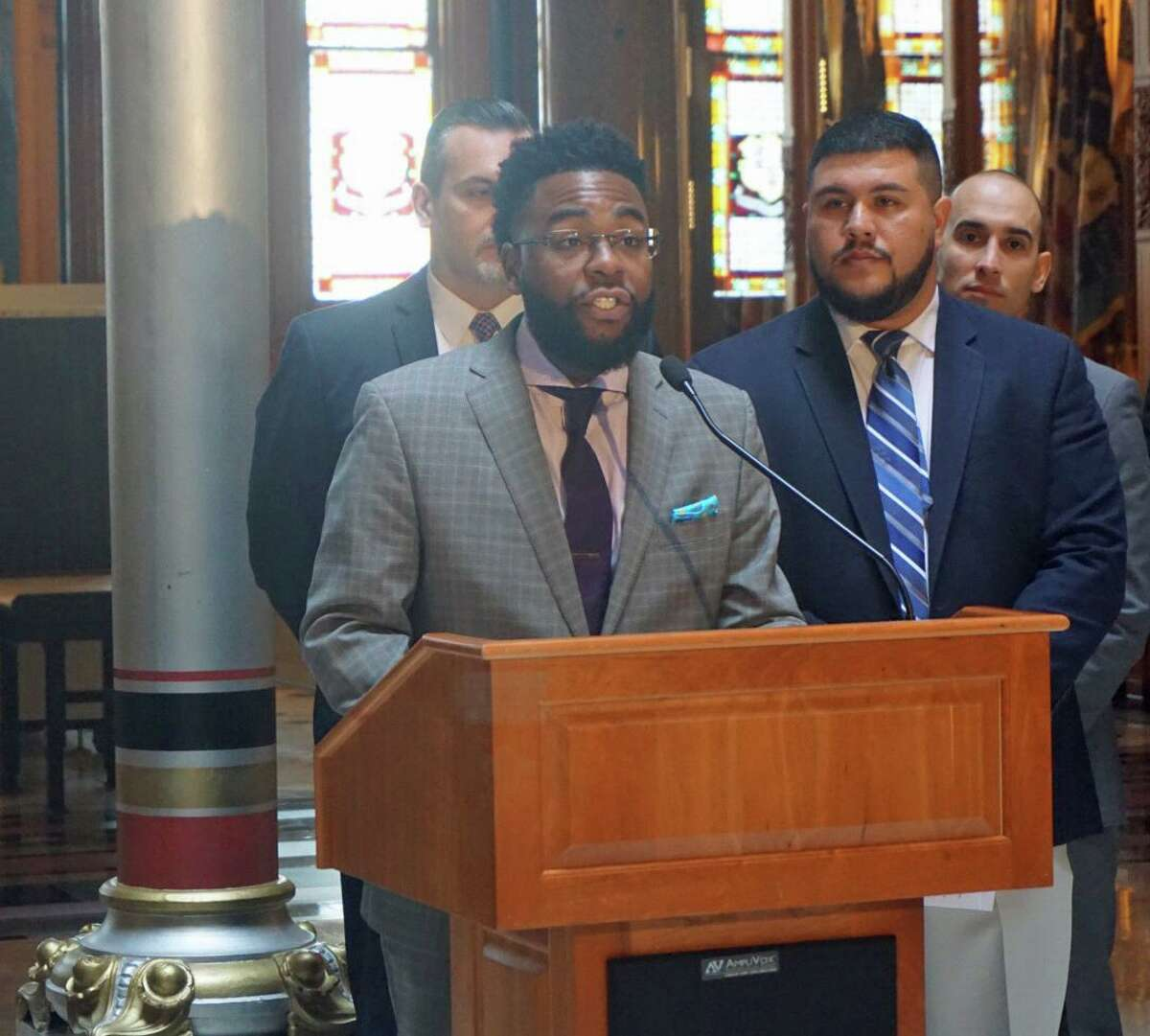 State Rep. Brandon McGee, D-Hartford, co-chairman of the legislative Housing Committee, with Rep. Chris Rosario, D-Bridgeport, in a 2018 file photo.