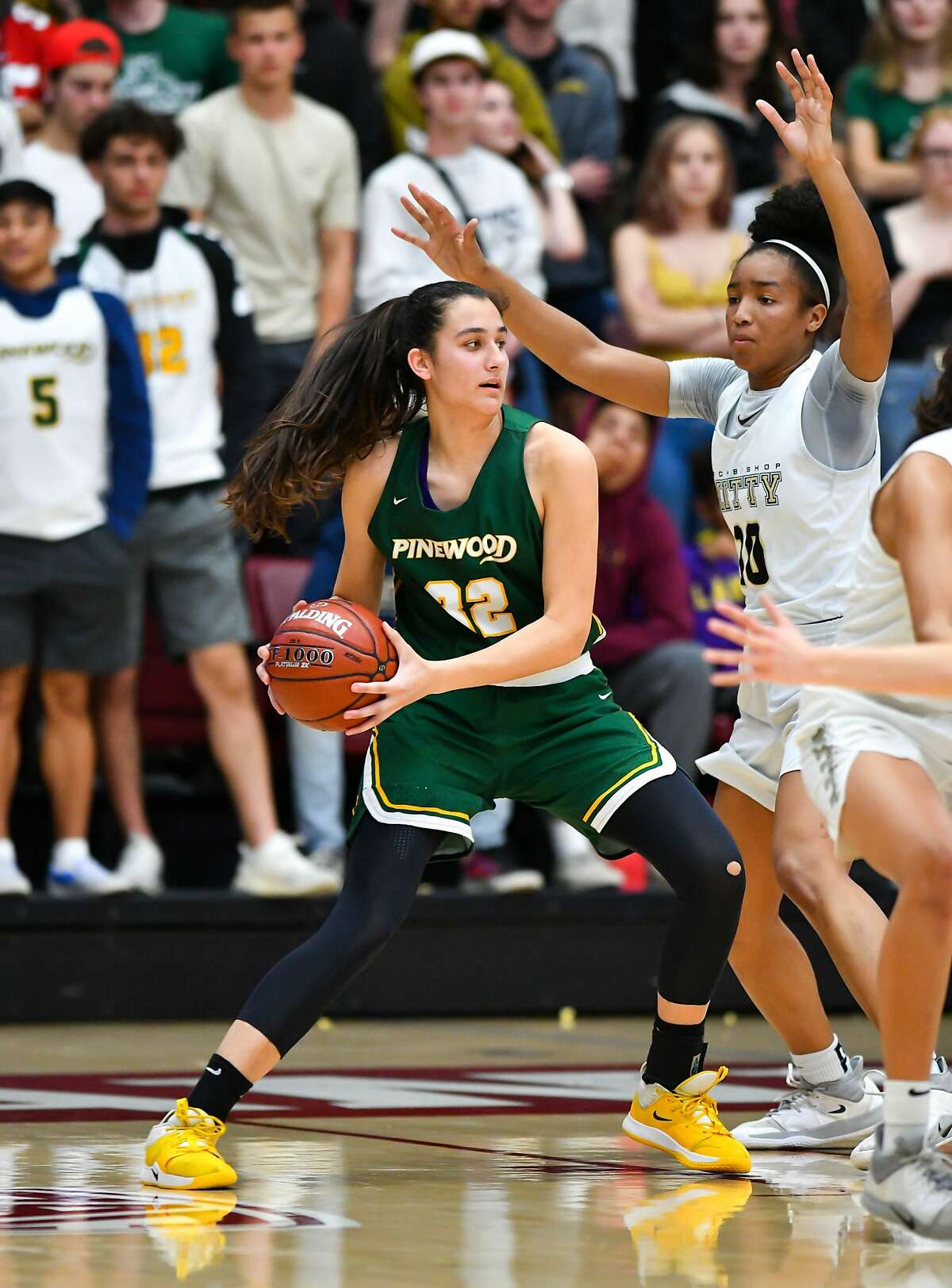Maia Garcia, shown in a previous game, had 13 points and nine rebounds in Pinewood-Los Altos' 50-48 victory over Mitty for the Central Coast Section Open Division championship on Friday, June 11, 2021.