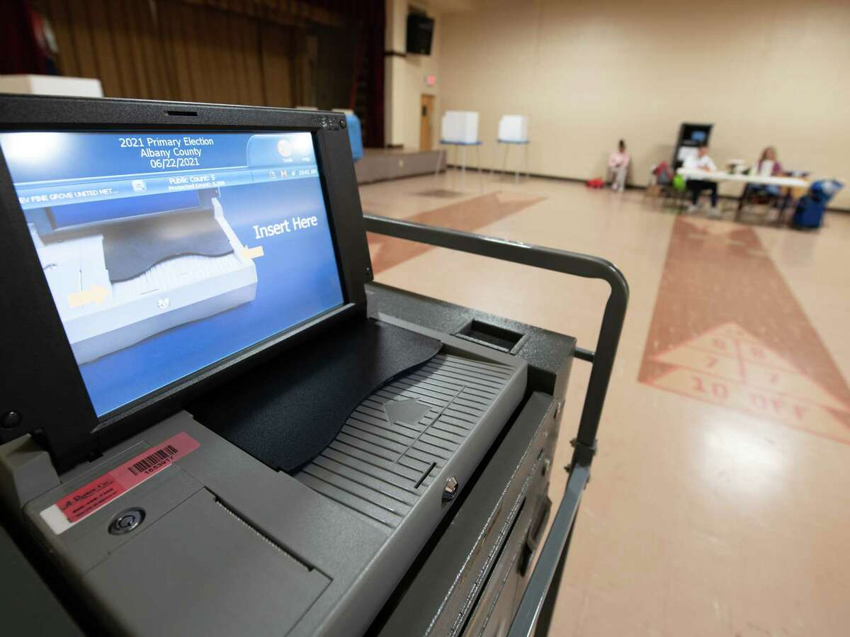 Turnout was light on the first day of early voting on Saturday, June 12, 2021, at Pine Grove United Methodist Church on Central Avenue in Colonie, NY. The church is an early voting polling place for the primary that culminates on June 22 (Jim Franco/Special to the Times Union)