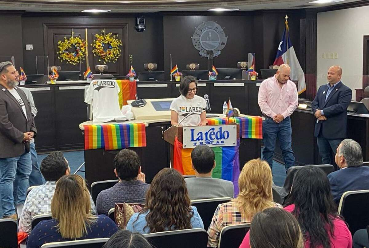 Councilmember Alyssa Cigarroa speaks during an event Thursday proclaiming June as PRIDE Month in Laredo. See Page A3 for the full story.