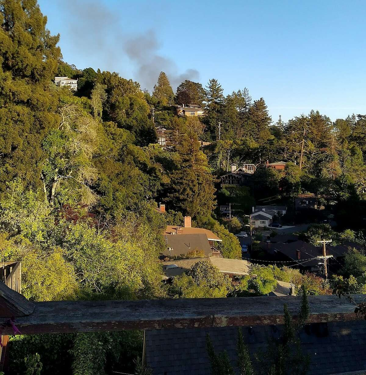 Smoke rises from one of the fires in the residential hills north of the UC-Berkeley campus on June 11, 2021. A 12-year-old girl has been arrested for the apparent arson.