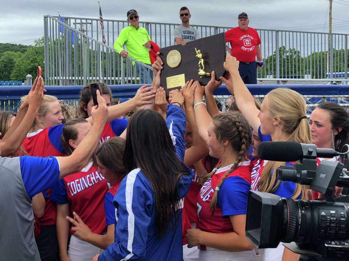 Coginchaug celebrates its 14-2 win over Somers in the CIAC Class S softball championship on Saturday, June 12, 2021 in West Haven, Conn.