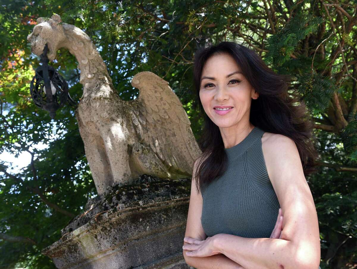 Yale Law School professor Amy Chua photographed at her home in New Haven on June 11, 2021.