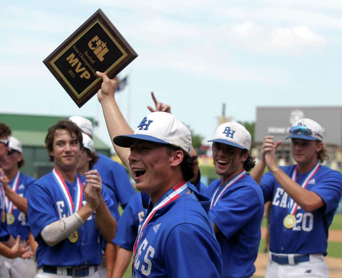 Barbers Hill relief pitcher Raithen Malone (6) holds up the MVP award after defeating Hallsville 2-1 to win the Class 5A state championships at Dell Diamond, Saturday, June 12, 2021, in Round Rock.