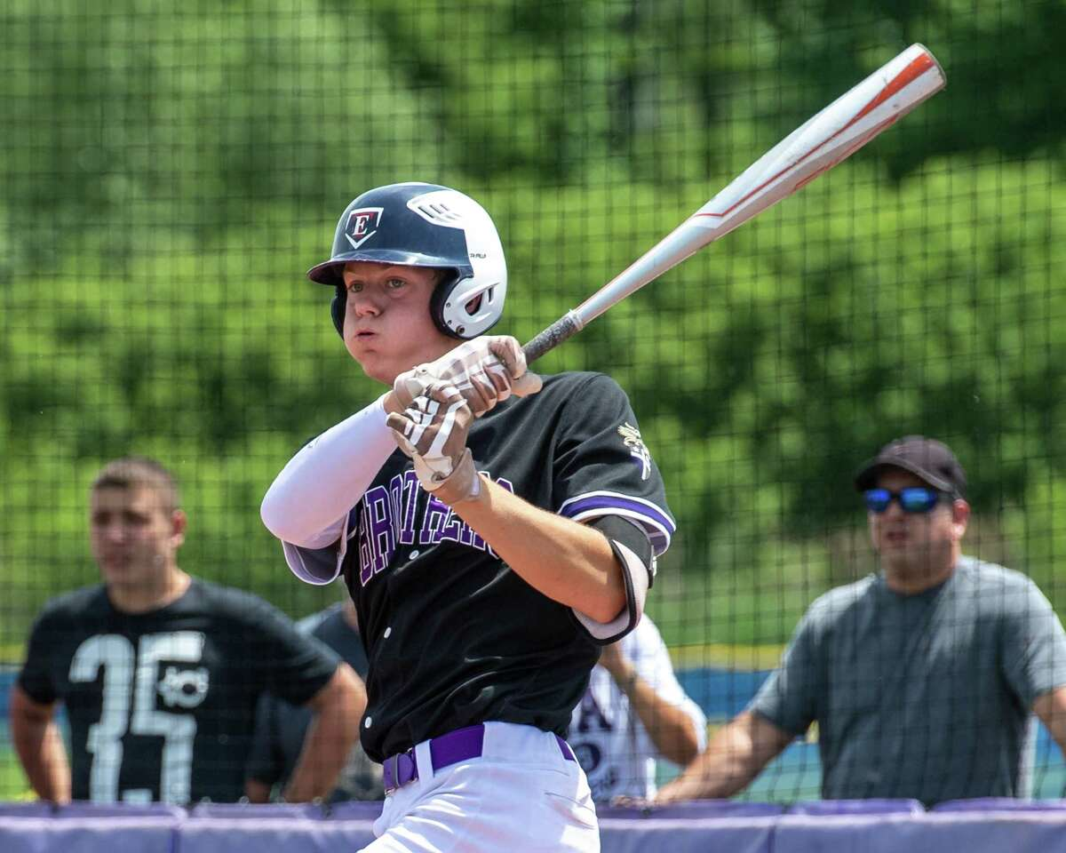 CBA standout Ryan Bilka takes a cut against Colonie during the Class AA semifinals at CBA in Colonie, NY, on Saturday, June 12, 2021. Bilka has 24 RBIs and 26 runs scored this season.