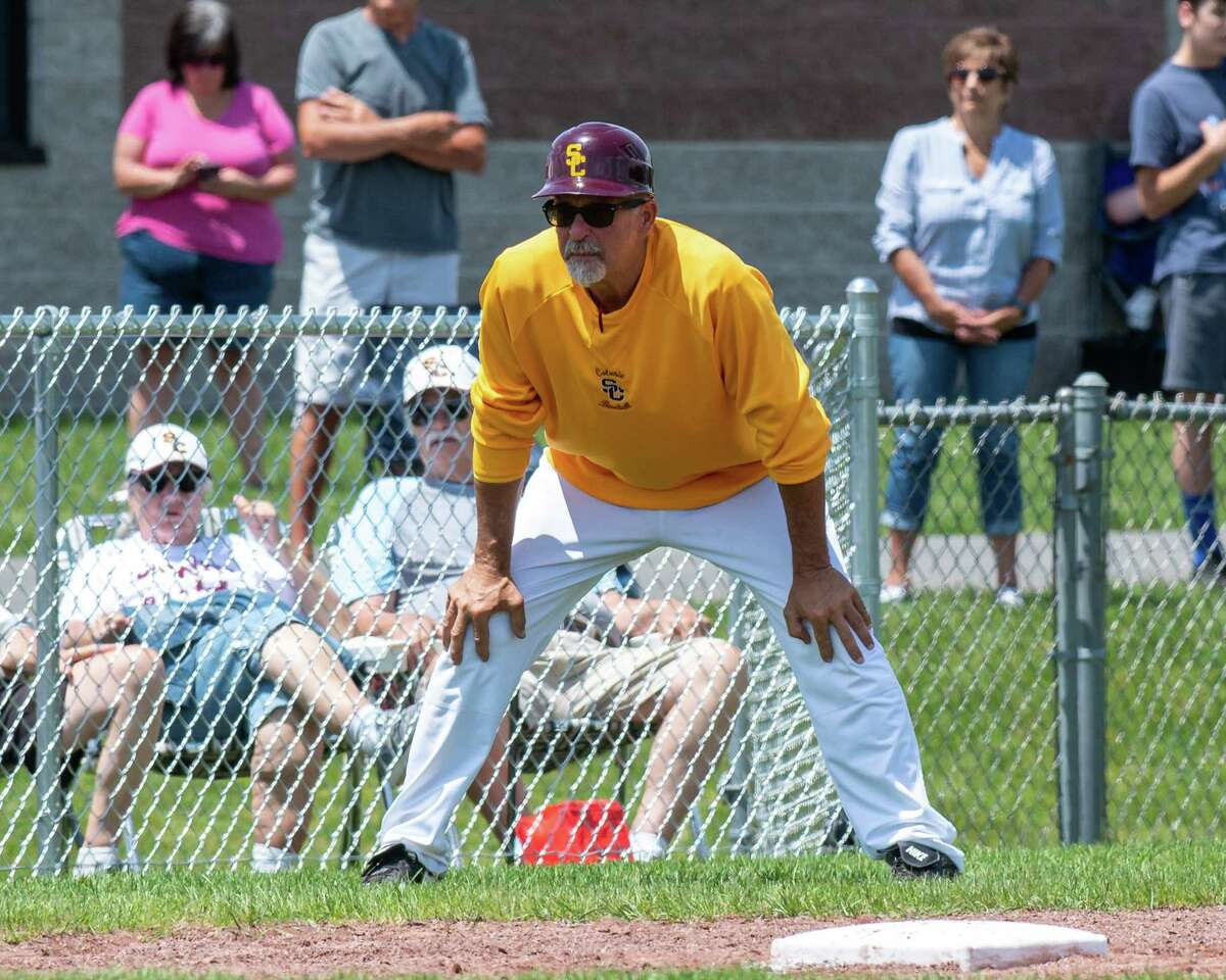 Colonie head coach Kevin Halburian coaches third against CBA during the Class AA semifinals at CBA in Colonie, NY, on Saturday, June 12, 2021 (Jim Franco/Special to the Times Union)