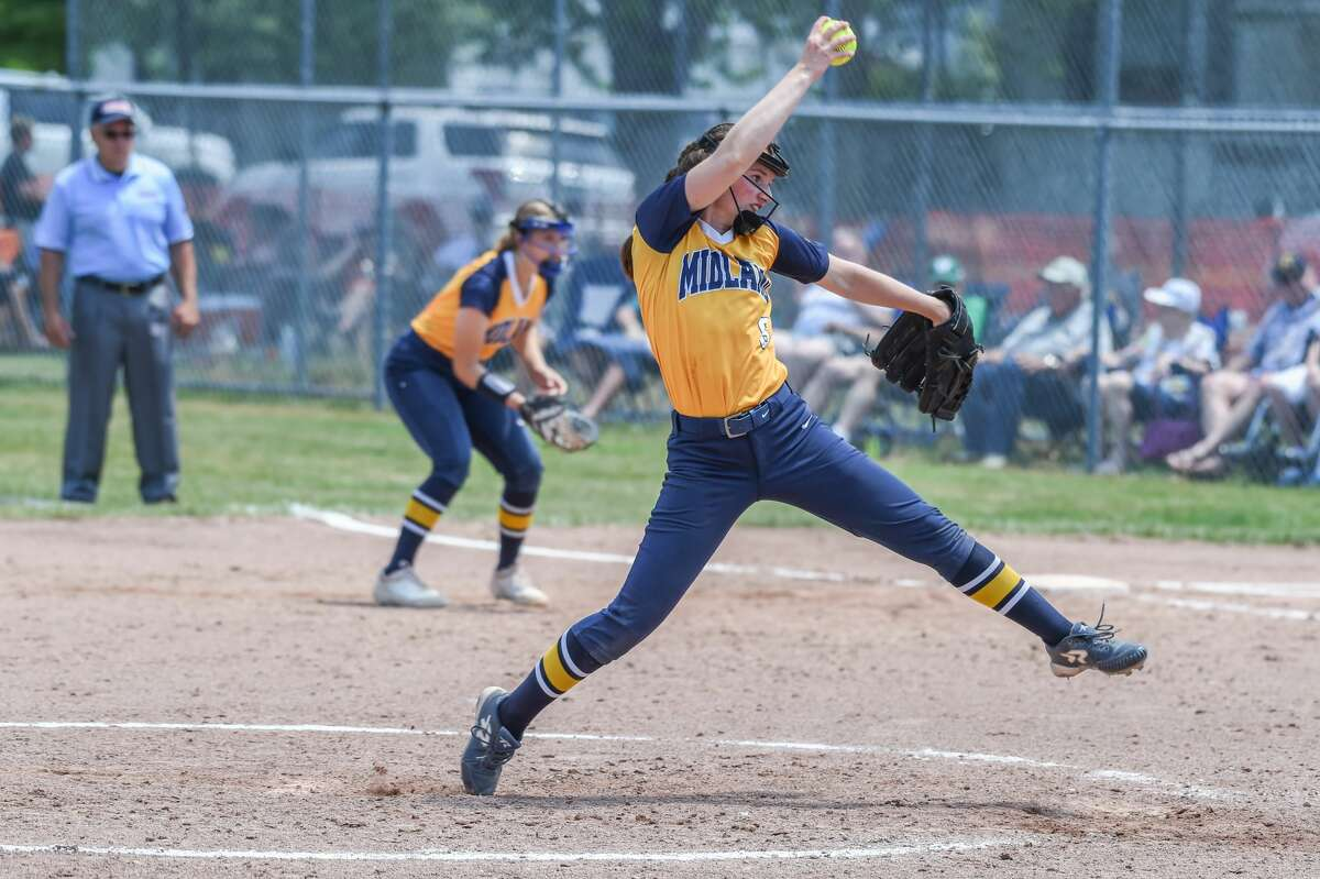 Midland High's Rachel Mecca delivers a pitch during the regional semi final game at McGregor Elementary in Bay City, MI on June 12, 2021 (Adam Ferman/for the Daily News)