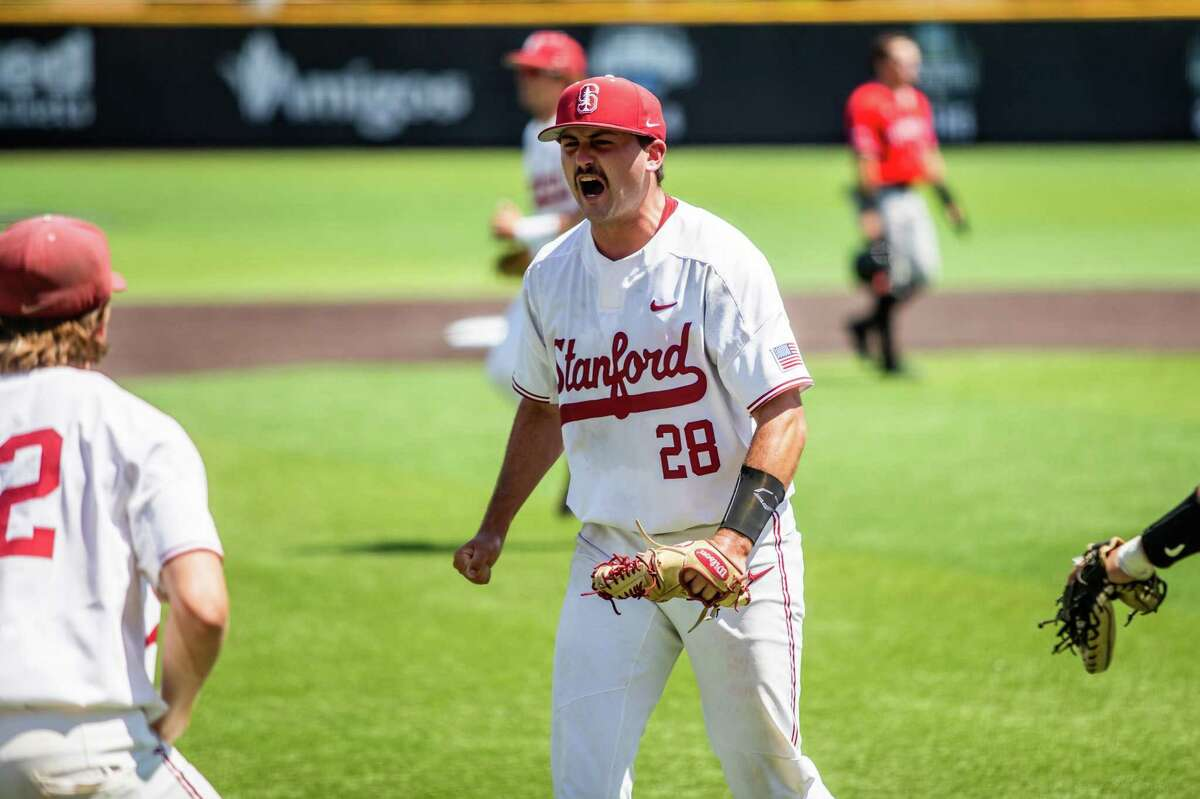 Alex Williams, who pitched a two-hitter, celebrates during Stanford's 9-0 victory over Texas Tech in Lubbock, Texas.