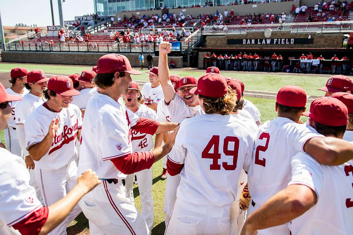 Stanford players celebrate after their 9-0 win over Texas Tech in Lubbock, Texas, on Saturday earned the Cardinal a trip to the College World Series.