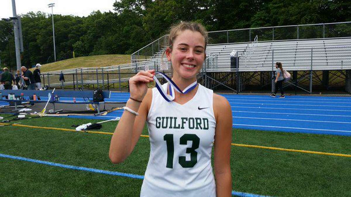 MJ Santa Barbara scored the game-winning goal for Guilford in an 11-10 win over Barlow in the Class M Girls lacrosse final.