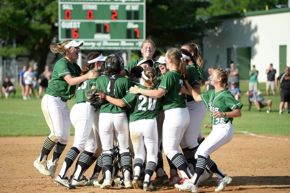 Shen softball players rally following their victory over Bethlehem in the Class AA sectional final on Saturday, Jun. 12, 2021, in Clifton Park, N.Y. (Jenn March, Special to the Times Union)