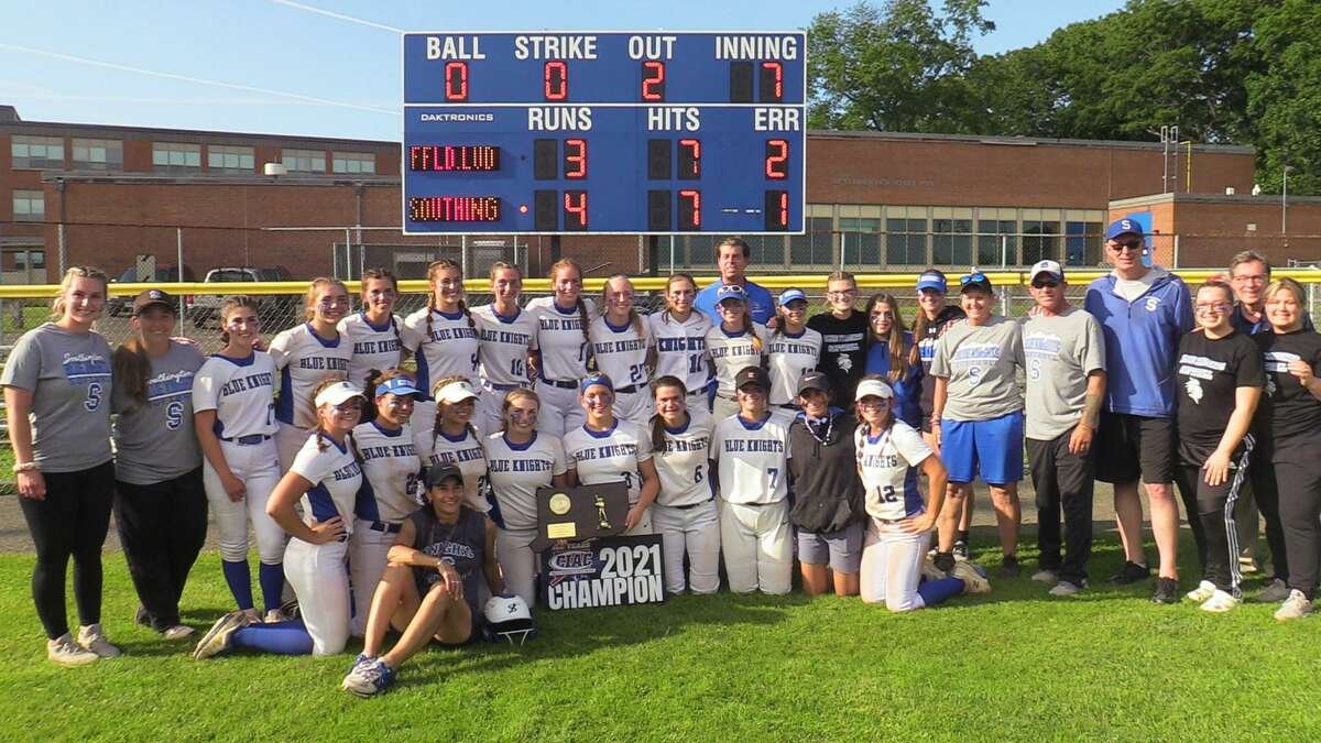 Southington celebrates its victory over Fairfield Ludlowe in the CIAC Class LL softball championship game Saturday in West Haven.