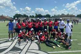 The West Brook 7-on-7 football team poses for a picture Saturday after qualifying for the state event.