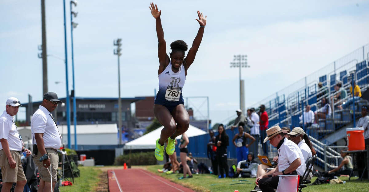Michelle Fokam set Rice's triple-jump record at the NCAA women's outdoor track and field championships.