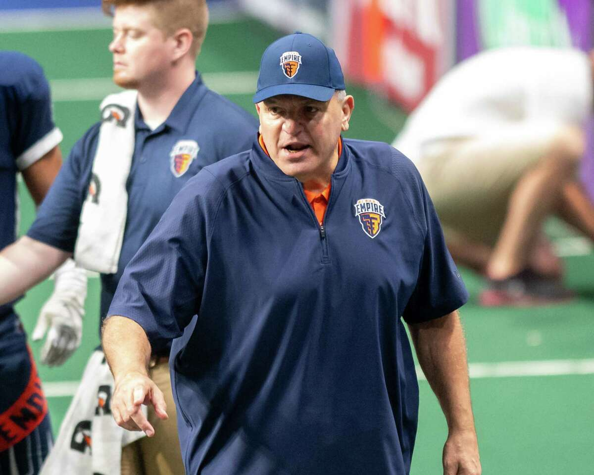 Albany Empire coach Tom Menas against the Carolina Cobras during a National Arena League game at the Times Union Center in Albany, NY, on Saturday, June 12, 2021 (Jim Franco/Special to the Times Union)