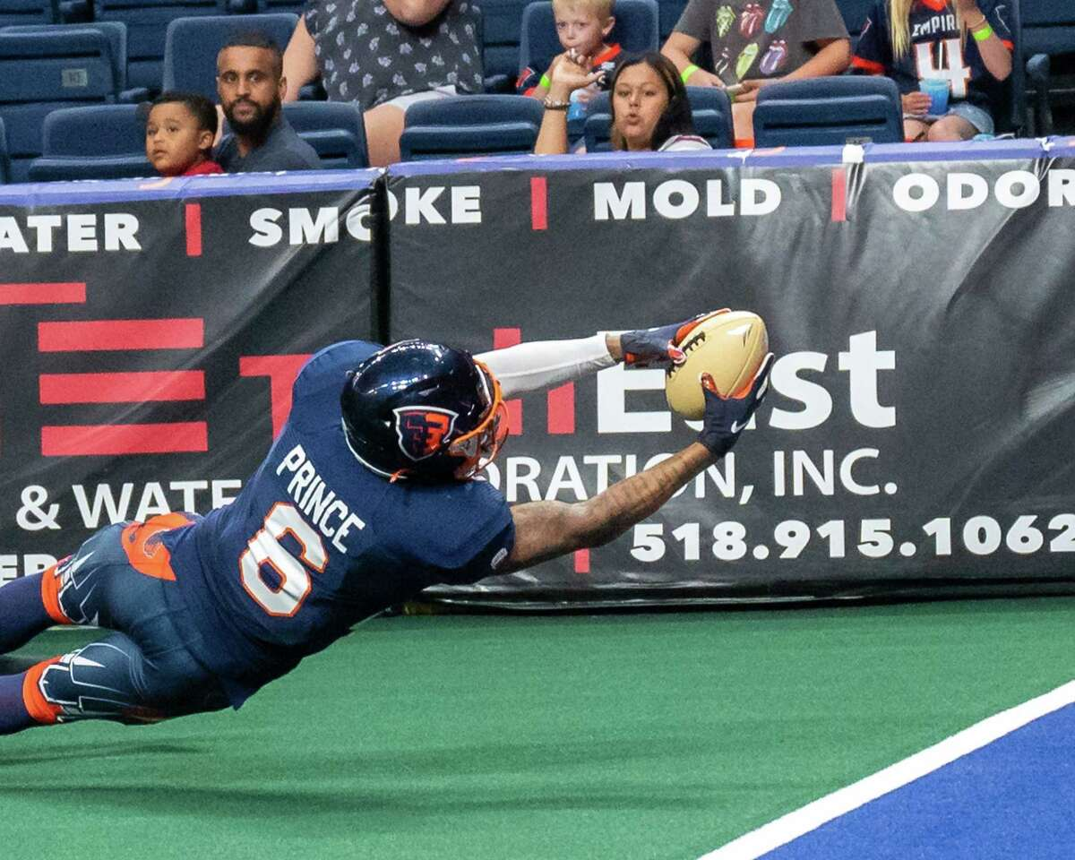 Albany Empire receiver Darius Prince, seen in a game from earlier this season, was a prime target for quarterback Tommy Grady on Saturday night in a National Arena League game at Orlando. (Jim Franco/Special to the Times Union)