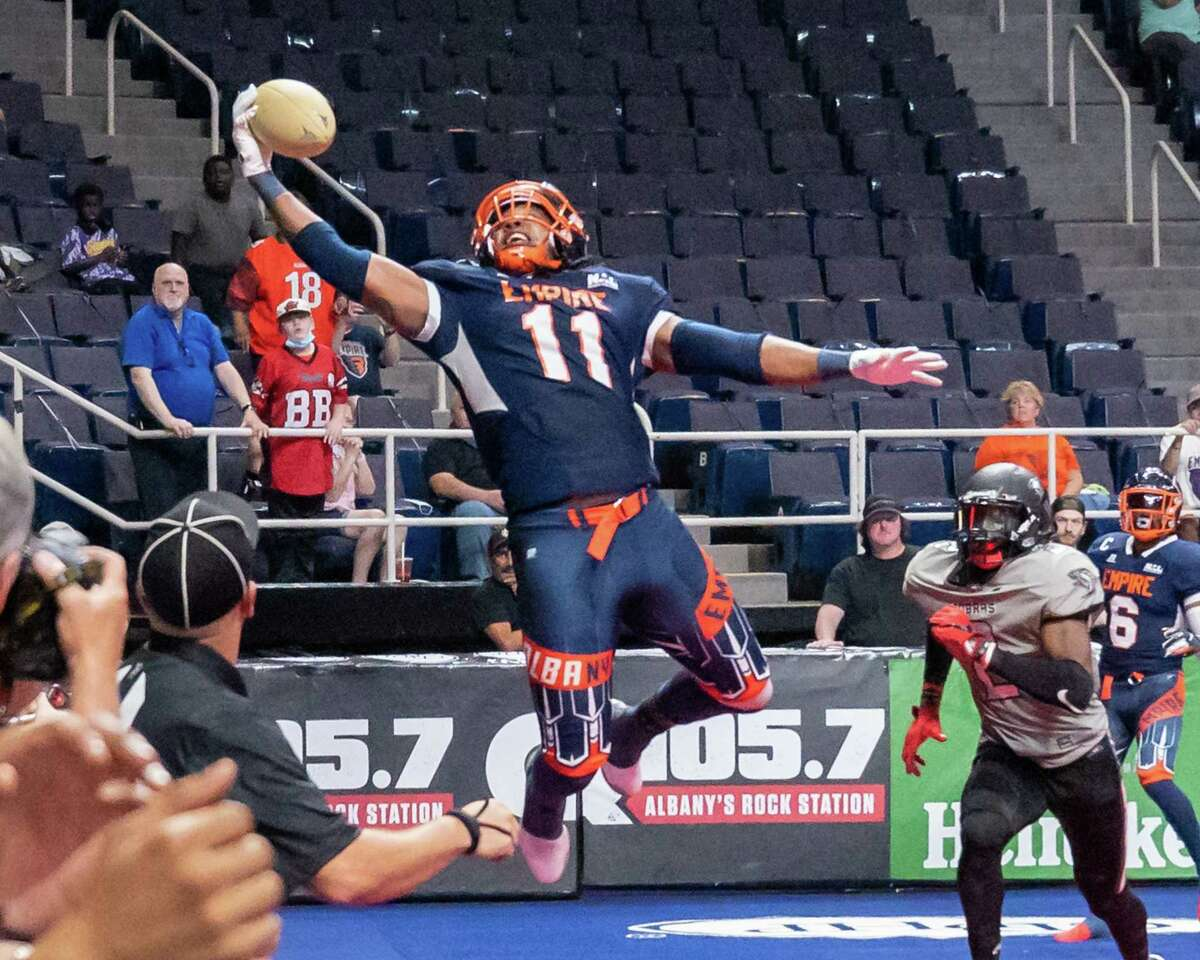 Albany Empire receiver Phillip Barnett can't hold onto a pass against the Carolina Cobras during a National Arena League game at Times Union Center. He's caught 31 passes and 10 touchdown passes in four games.