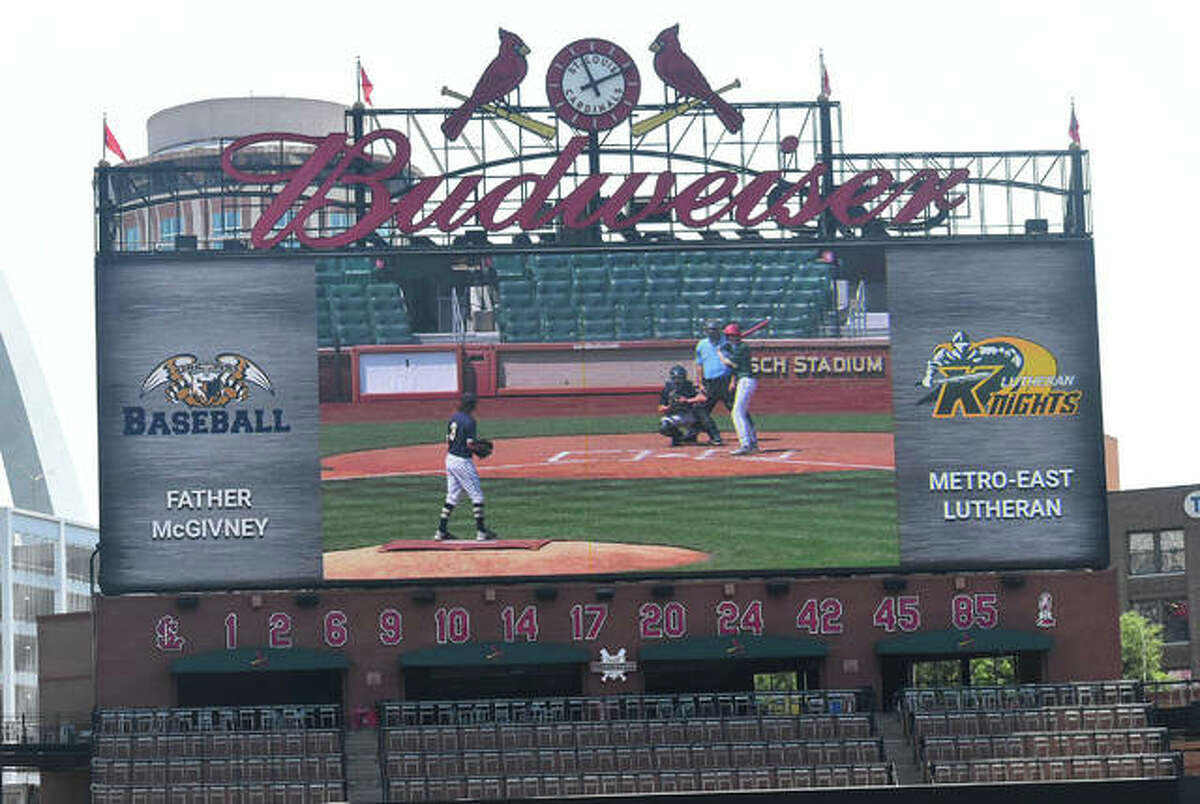 The Metro-East Lutheran Knights and Father McGivney Griffins competed in an exhibition game at Busch Stadium on Saturday morning in St. Louis.