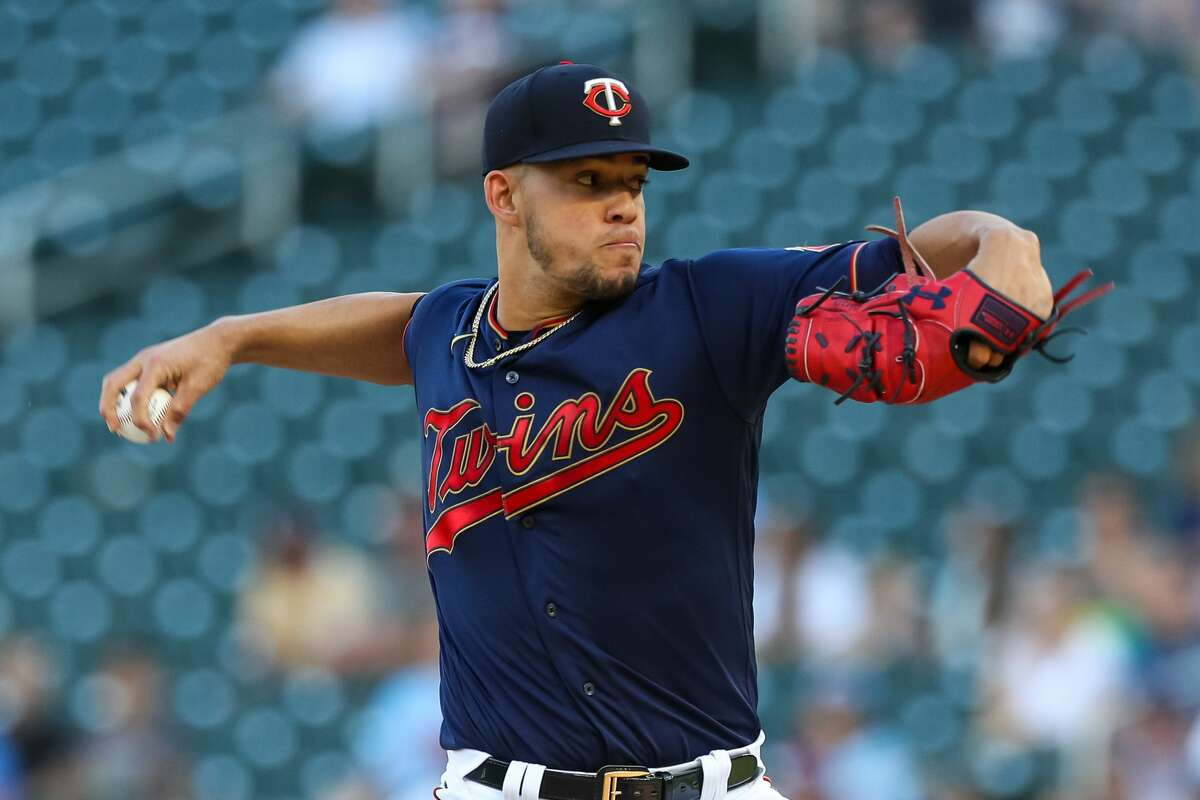 MINNEAPOLIS, MN - JUNE 12: Jose Berrios #17 of the Minnesota Twins delivers a pitch against the Houston Astros in the first inning of the game at Target Field on June 12, 2021 in Minneapolis, Minnesota. (Photo by David Berding/Getty Images)