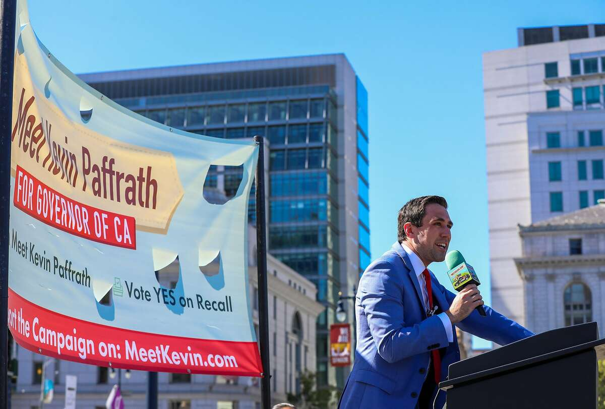 Kevin Paffrath, a Democrat running for California governor against Gov. Newsom, addresses a rally at Civic Center Plaza on Saturday.