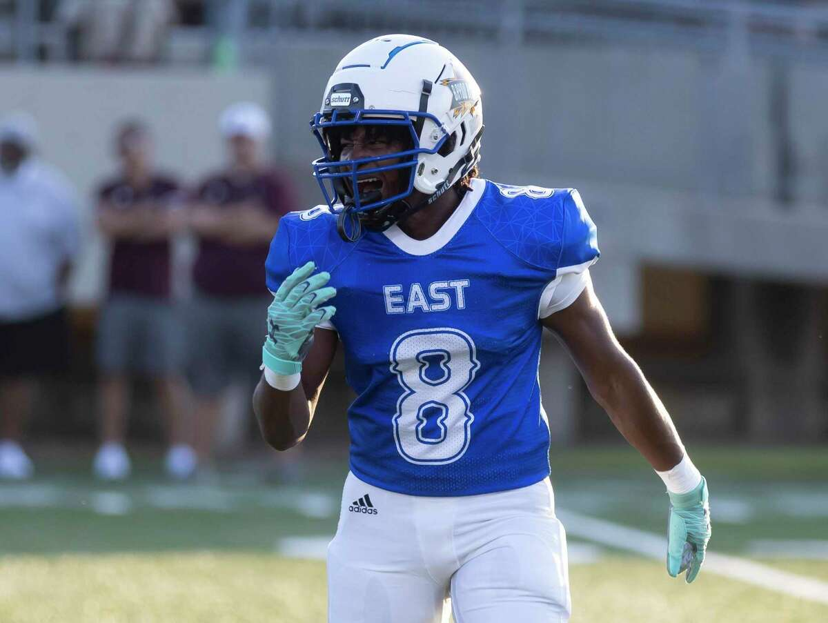 East defensive back Micah Cooper (8) from Grand Oaks yells at his teammates during the first quarter of the Bayou Bowl football all-star game against West at Stallworth Stadium, Saturday, June 12, 2021, in Baytown.