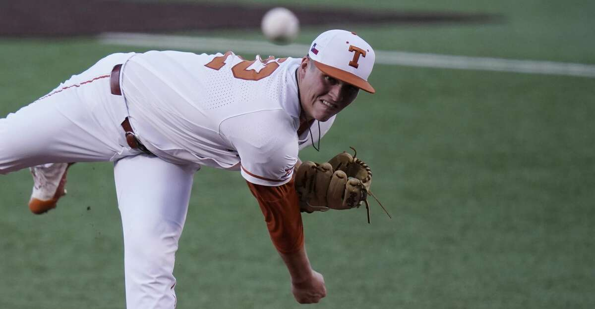 Texas' Ty Madden delivers a pitch against Arizona State in the first inning of Game 4 of the NCAA college baseball regional tournament, Saturday, June 5, 2021, in Austin, Texas. (AP Photo/Eric Gay)