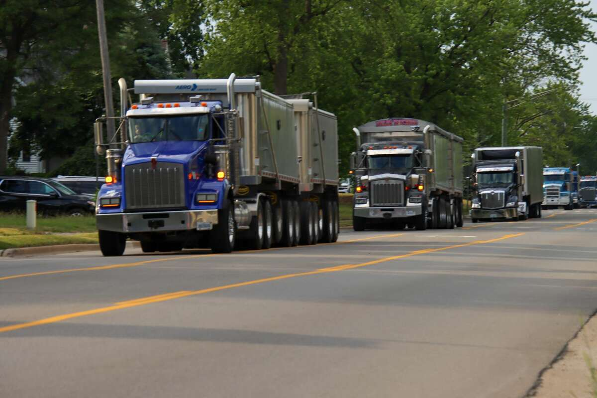 More than 100 trucks participated in this year's convoy around Huron County.