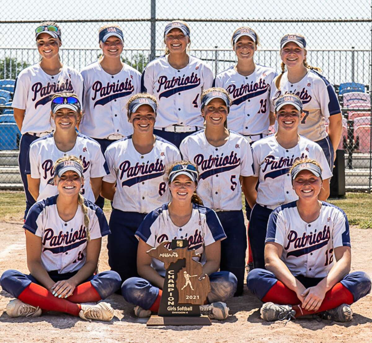 The 2021 Unionville-Sebewaing Area varsity softball team claimed the Region 32 championship on Saturday with a 13-0 win over Kingston in 5 innings. The Patriots advanced to the title game with 9-1 victory over Harbor Beach in the regional semifinals. USA advances to the state quarterfinals finals, where it will take on Allen Park Cabrini at 3 p.m. on Tuesday, June 15.