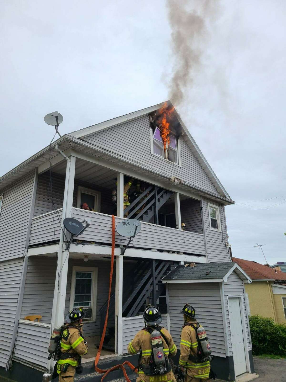 Stamford Fire Department respond to a multi-family home