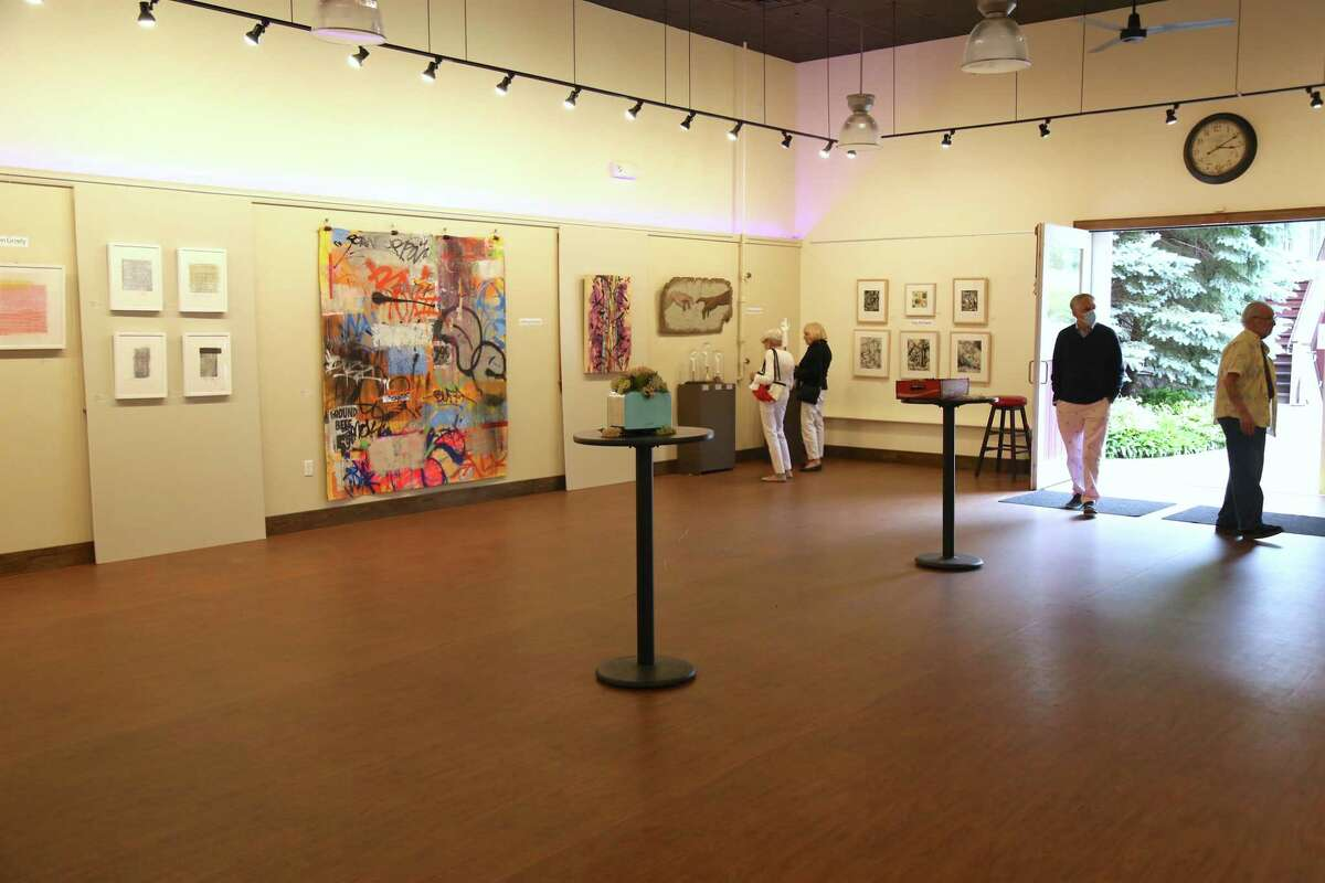 For the first time in a year the Artists Collective of Westport holds a pop-up show at the Westport Country Playhouse's barn on Saturday, June 12, 2021, in Westport, Conn.