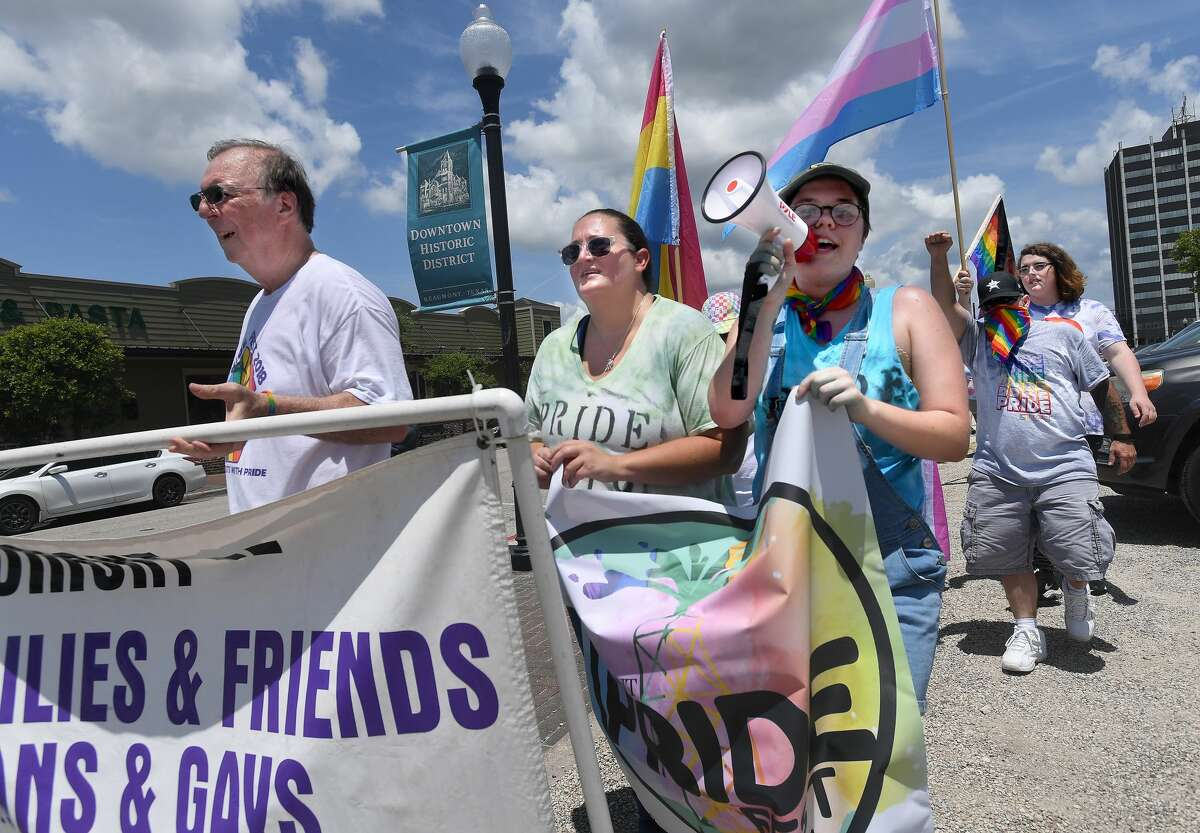 The Stonewall Commemorative March opened festivities during Pride Fest 2021 Saturday at Pour Brothers. Photo made Saturday, June 12, 2021 Kim Brent/The Enterprise