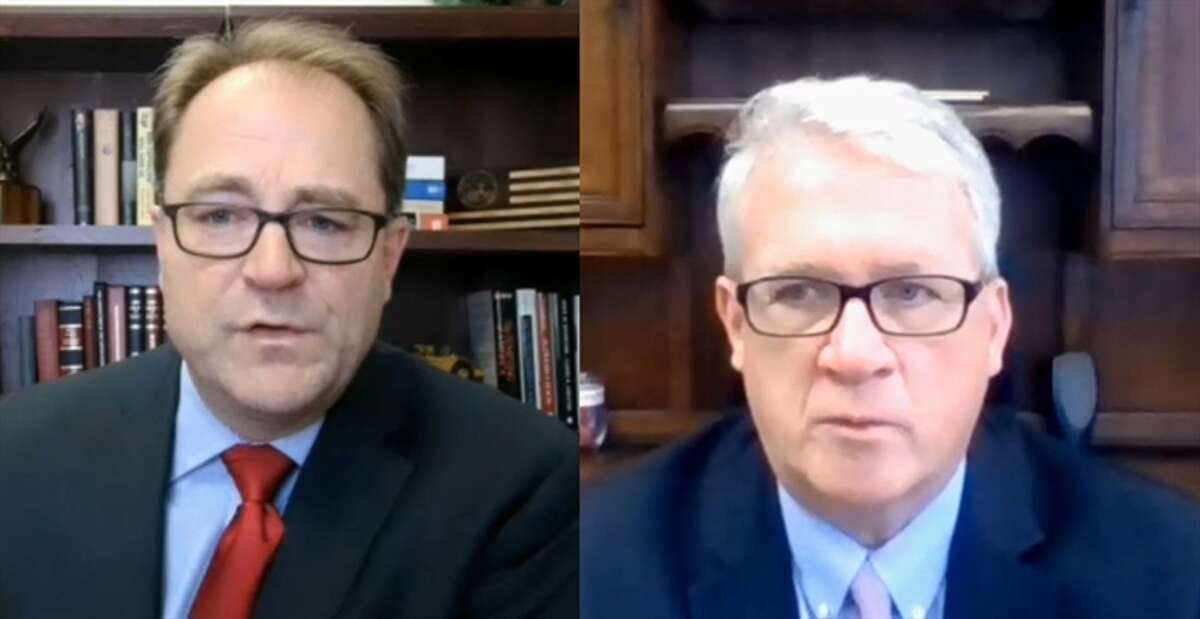 Senate Minority Leader Dan McConchie (left) and House Minority Leader Jim Durkin in a virtual news conference earlier this year. The two leaders have filed a lawsuit challenging new legislative maps passed by Democrats and signed into law by Gov. J.B. Pritzker.