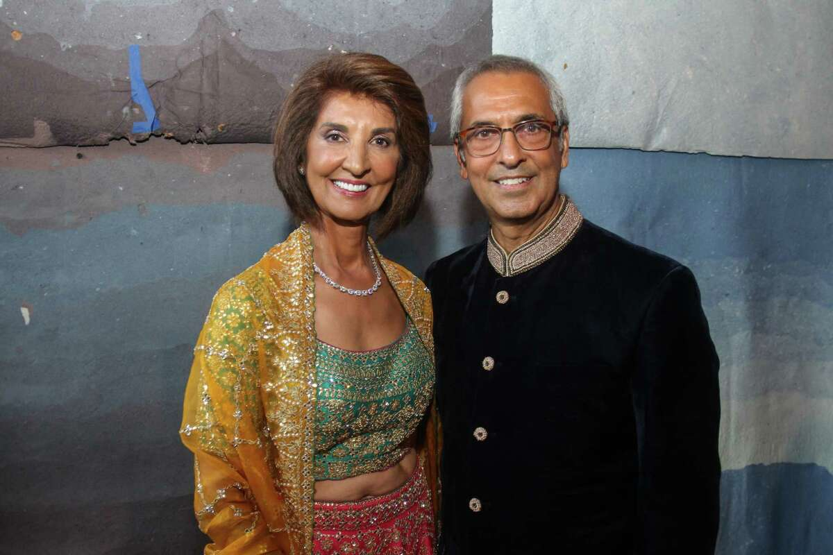 Honorees Sultana and Moez Mangalji at the Asia Society Tiger Ball in Houston on June 11, 2021.