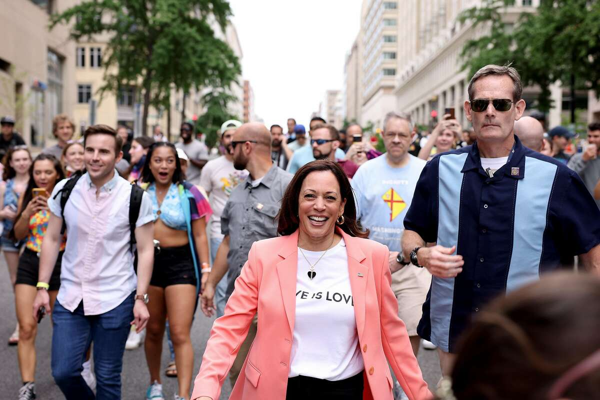 WASHINGTON, DC - JUNE 12: U.S. Vice President Kamala Harris joins marchers for the Capital Pride Parade on June 12, 2021 in Washington, DC. Capital Pride returned to Washington DC, after being canceled last year due to the Covid-19 pandemic. (Photo by Anna Moneymaker/Getty Images)