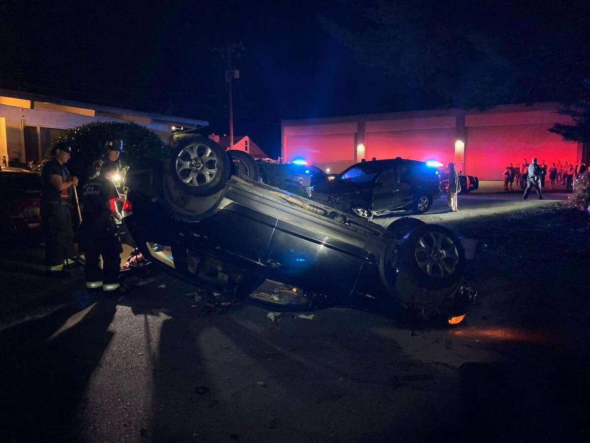 The driver of a vehicle carjacked on Friday lost control as he was turning on Folkstone Avenue and South Amphlett Boulevard and drove into the curb, San Mateo police said.