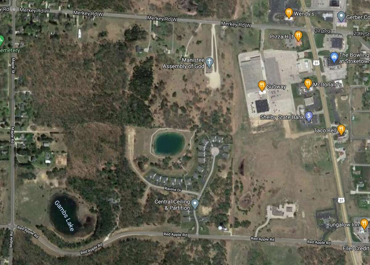 """Filer Township will hold two public input sessions next week provide information about the development of three township parcels between Merkey Road and Red Apple Road - south of the former Kmart (or Subway) plaza in top right corner of the map - referred to as """"The Hamlet of Filer Township""""."""