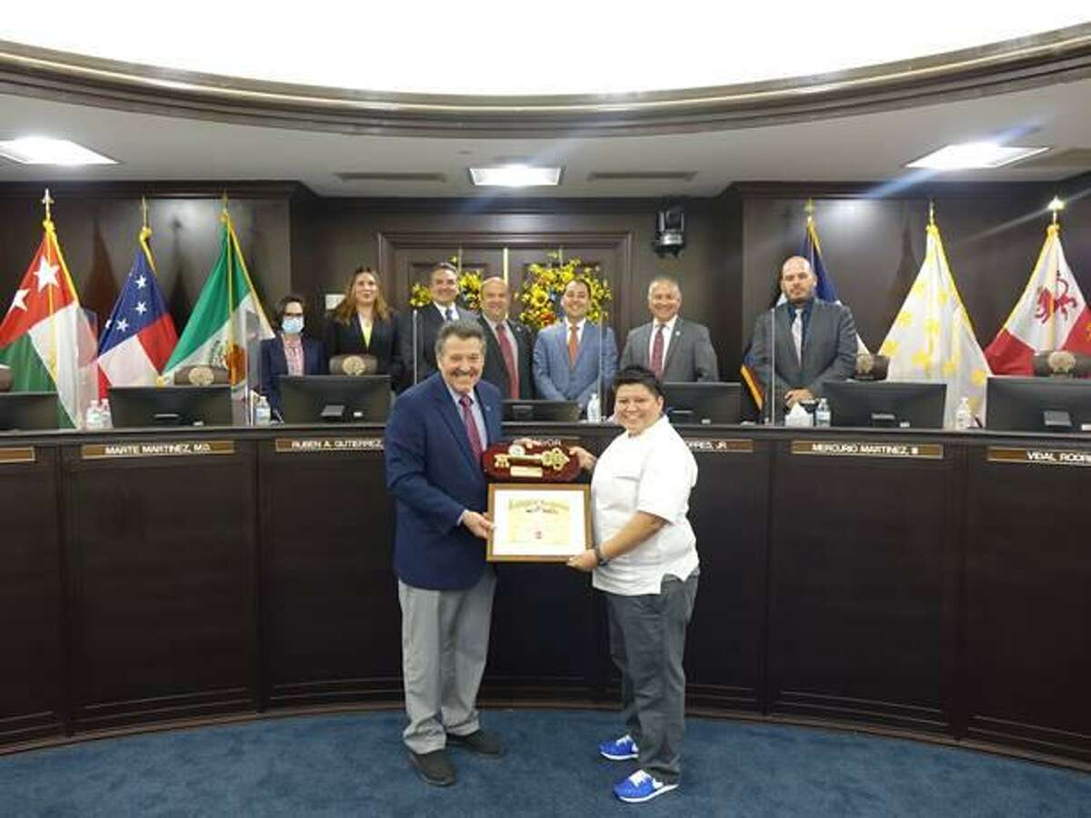 """Jesse Kuykendall was honored by Laredo City Council for her victory on the """"Chopped"""" television cooking competition."""