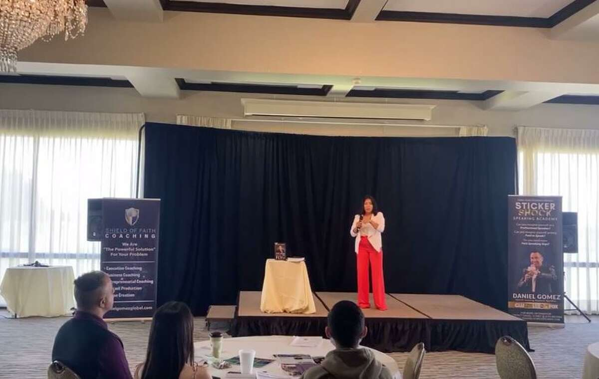 Maria Rodriguez speaks Saturday during the Shift Business Accelerator Conference at the Laredo Country Club.