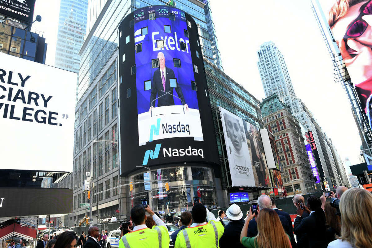 A view of the NASDAQ tower as Exelon Corp. executives ring the opening bell in 2019.