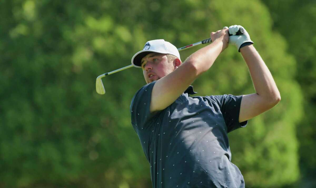 Jared Nelson hits a tee shot towards the 10th green during the final round of the Troy Invitational at the Country Club of Troy on Sunday, June 13, 2021, in Troy, N.Y. (Paul Buckowski/Times Union)