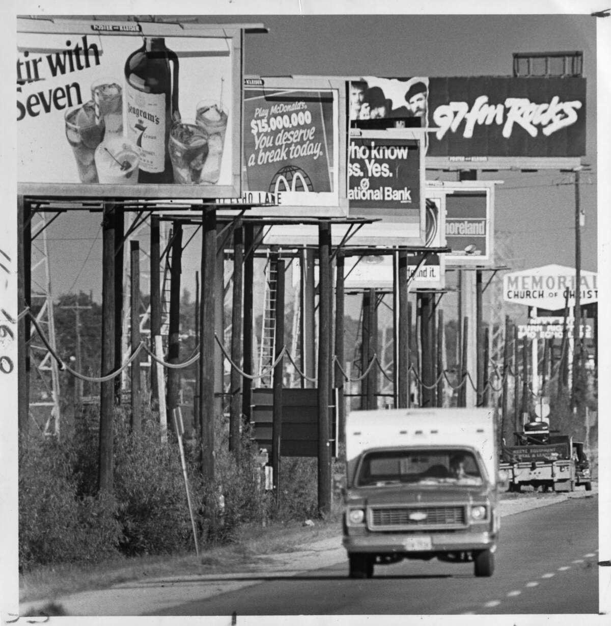Billboards have long been a feature of Houston's landscape. This 1985 photo shows signs along the north side of the Katy Freeway. An idea being discussed by Mayor Sylvester Turner's administration could allow dozens of new digital billboards to replace some existing, traditional signs.