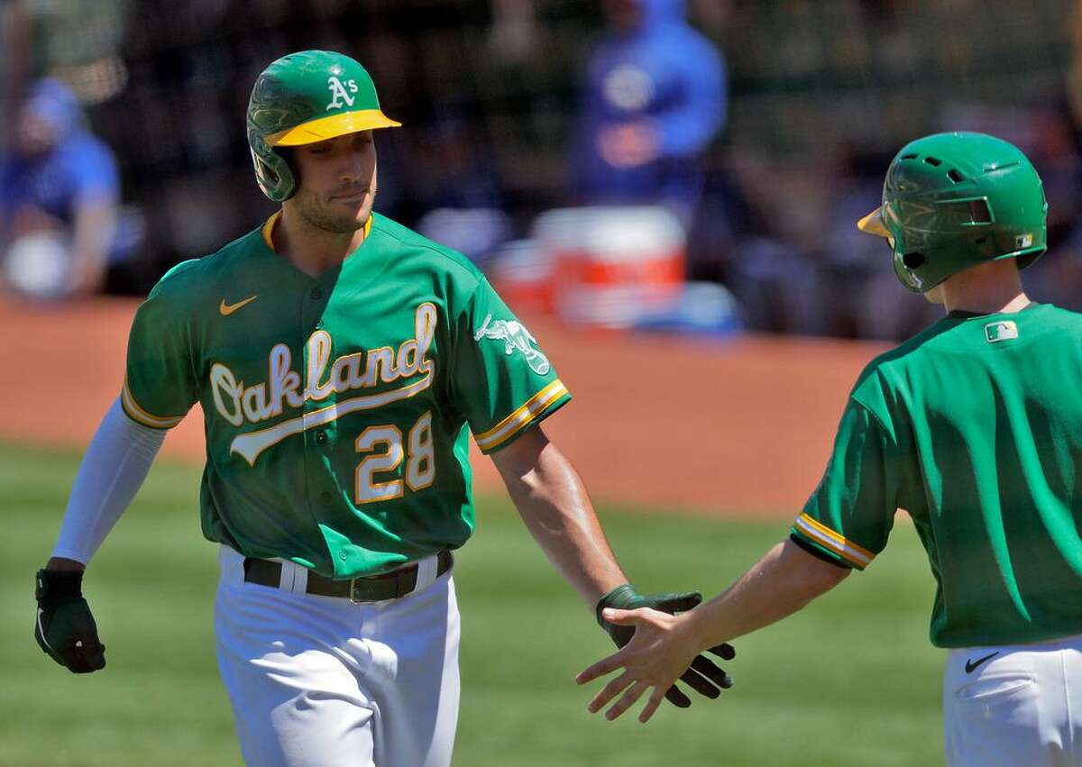 Matt Olson and the A's will face the Angels at the Coliseum at 6:30 p.m. Tuesday. (NBCSCA)